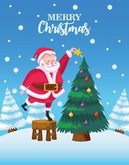Papai noel bonito decorando a árvore de natal com ilustração de cena de neve