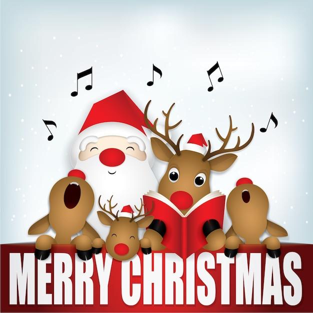 Papai noel bonito e cervos que cantam o feliz natal.