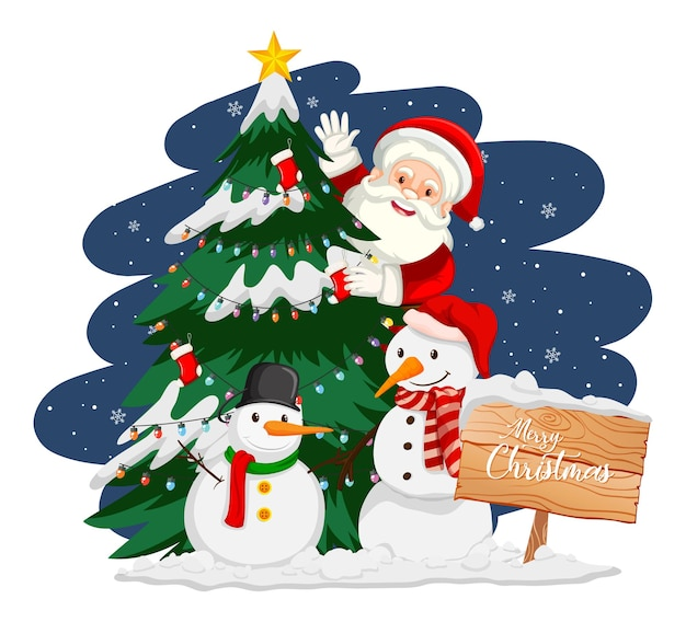 Papai noel com árvore de natal e boneco de neve à noite