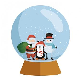Papai noel com boneco de neve e pinguim