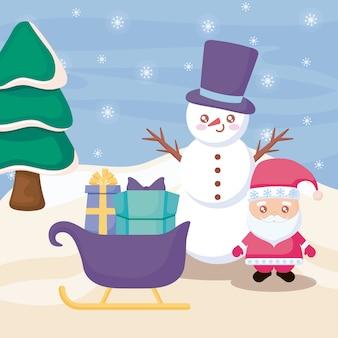 Papai noel com boneco de neve na paisagem de inverno