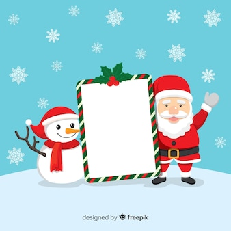 Papai noel com boneco de neve segurando cartaz em branco