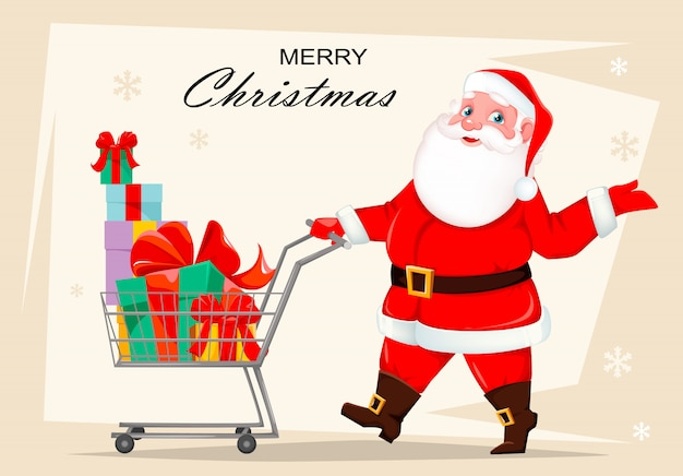 Papai noel com carrinho de compras cheio de presentes