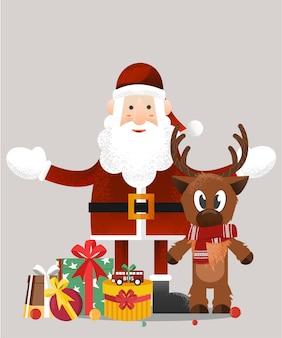 Papai noel com cartão do natal da rena cartão postal