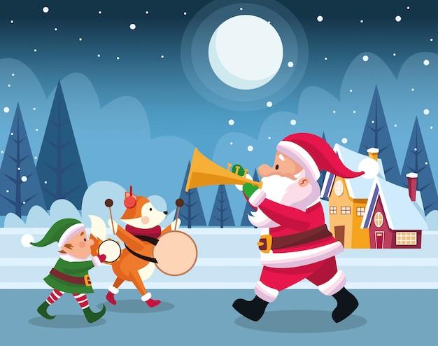 Papai noel com duende de natal e raposa bonitinha tocando instrumentos musicais durante a noite de neve, colorida, ilustração