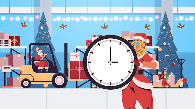 Papai noel com elfo e santa mulher preparando presentes no feliz ano novo, feliz natal, férias de inverno, celebração, conceito, oficina, interior, horizontais, vetorial, illustration