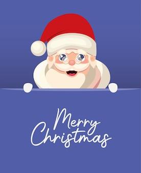 Papai noel com ilustração de letras de feliz natal