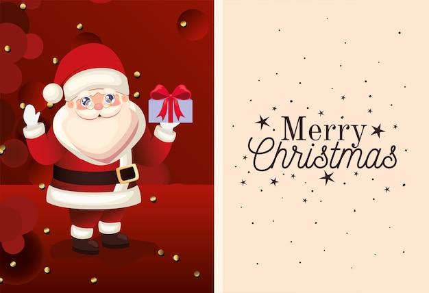 Papai noel com letras de feliz natal e ilustração de caixa de presente