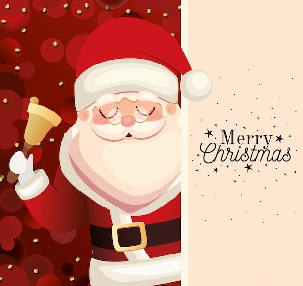 Papai noel com letras de feliz natal e ilustração de sino