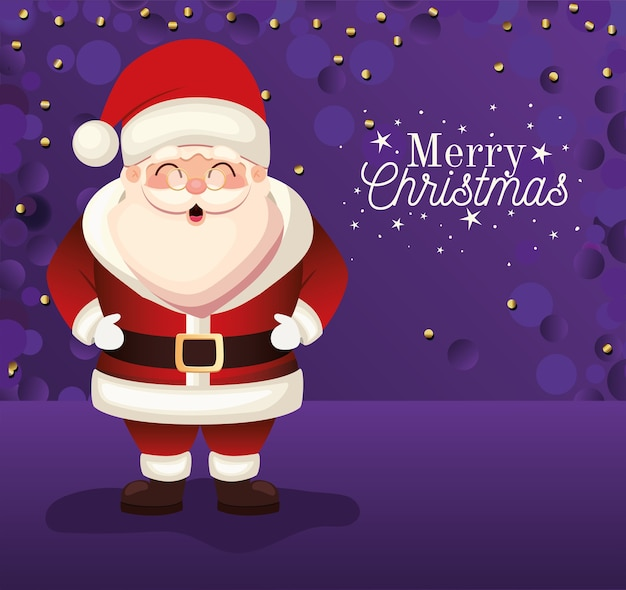 Papai noel com letras de feliz natal em ilustração de fundo roxo