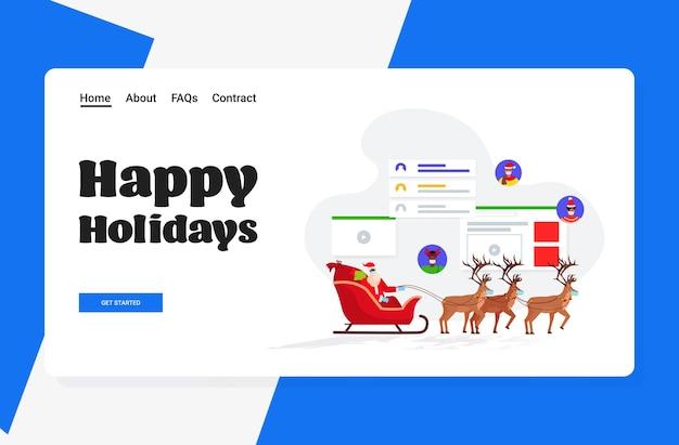 Papai noel com máscara andando de trenó com renas e discutindo com pessoas de raça mista feliz ano novo, feliz natal, férias, celebração, conceito horizontal