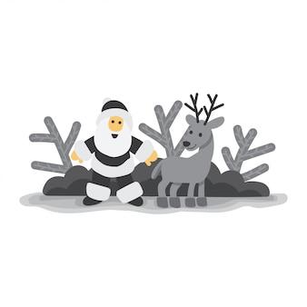 Papai noel com o cervo preto e branco