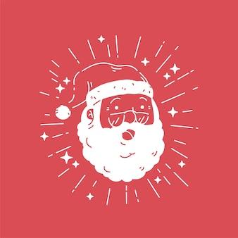 Papai noel com óculos sorrindo, flash, luz, brilho, sinal, vetorial, silhueta dicut