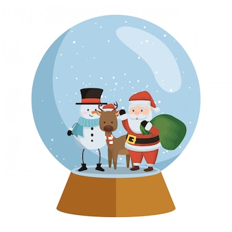 Papai noel com rena e boneco de neve na esfera de neve