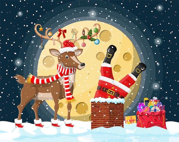 Papai noel com saco com presentes presos na chaminé de casa, caixas de presente na neve, renas. decoração de feliz ano novo. férias de véspera de natal feliz. celebração de natal de ano novo.
