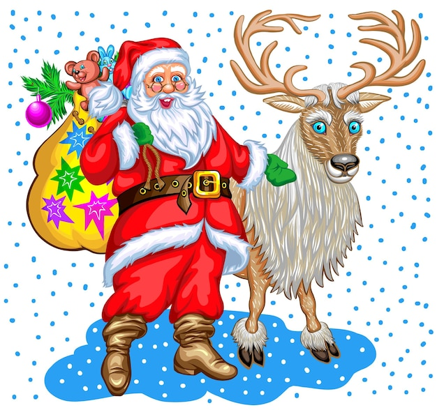 Papai noel com saco de presentes e renas. ilustração de natal