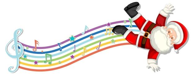 Papai noel com símbolos de melodia na onda do arco-íris