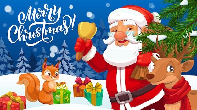 Papai noel com sino de natal, sacola de presente de natal e cartão comemorativo de renas