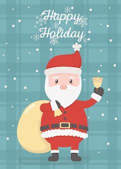 Papai noel com sino e bolsa celebração cartão de feliz natal