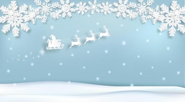 Papai noel com trenó e floco de neve, temporada de natal arte em papel papel corte estilo ilustração