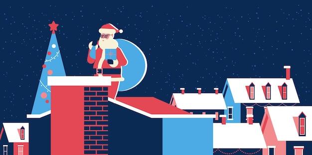Papai noel com um saco em pé no telhado perto da chaminé. feliz natal, férias de inverno, conceito, vila nevada, casas, cartão, comprimento total, horizontal, vetorial, ilustração