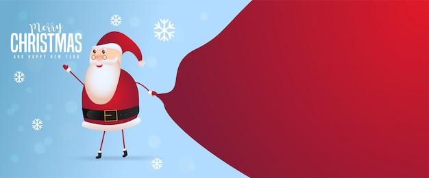 Papai noel com um saco enorme na caminhada para entrega de presentes de natal na neve cair