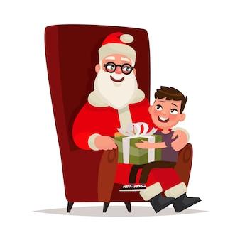 Papai noel com uma criança sentada em uma cadeira em um fundo branco. ilustração