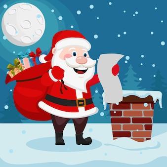 Papai noel com uma sacola de presentes está no telhado e lê a lista. cartão de natal