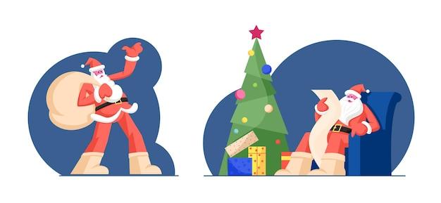 Papai noel com uma sacola enorme cheia de presentes na corrida para entrega de presentes de natal para crianças. ilustração plana dos desenhos animados