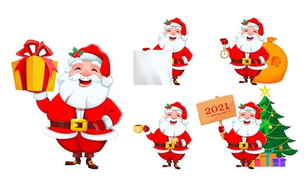 Papai noel, conjunto de cinco poses. feliz natal e feliz ano novo
