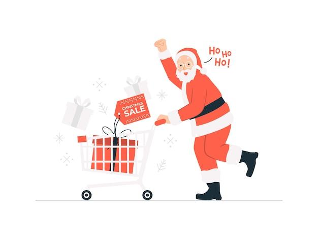 Papai noel correndo com um carrinho com uma caixa de presente fazendo compras na ilustração do conceito de venda de natal