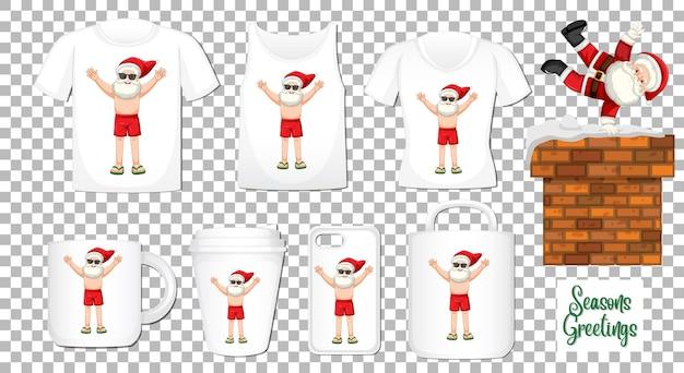 Papai noel dançando personagem de desenho animado com um conjunto de diferentes produtos de roupas e acessórios em fundo transparente