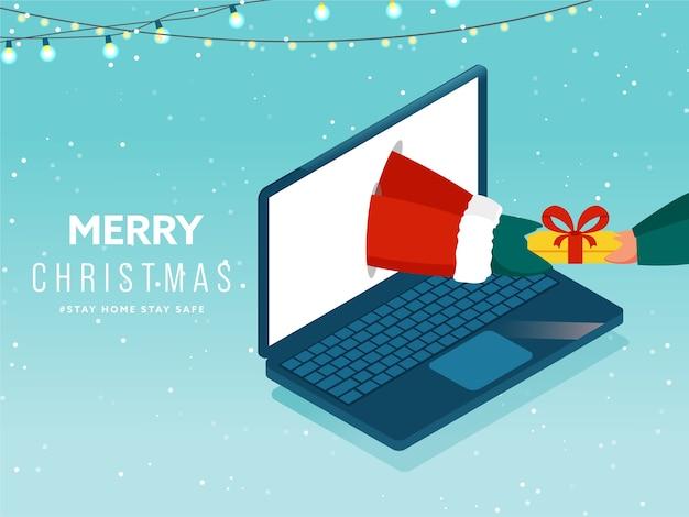 Papai noel dando um presente on-line para uma pessoa por meio do laptop e da lighting garland