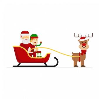 Papai noel de natal e elfo andando de trenó