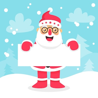 Papai noel de óculos, segurando um cartaz em branco para o natal