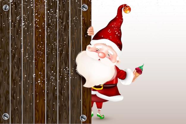 Papai noel de sorriso feliz que está atrás de um sinal em branco, mostrando um sinal em branco grande do ltht. cartão de natal. símbolo da natividade de cristo. feliz natal.