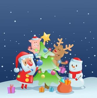 Papai noel decorando a árvore do ano novo com seus amigos. banner da web, anúncio, cartão, impressão. ilustração colorida.