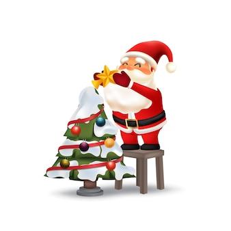 Papai noel, decorando, árvore natal