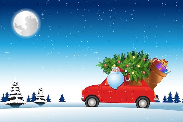 Papai noel dirige um carro vermelho na neve com uma árvore de natal para enviar presentes