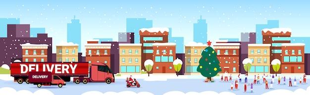 Papai noel dirigindo caminhão de entrega pessoas comemorando feliz natal feliz ano novo férias de inverno