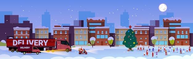 Papai noel dirigindo caminhão de entrega pessoas se divertindo feliz natal feliz ano novo celebração de férias de inverno