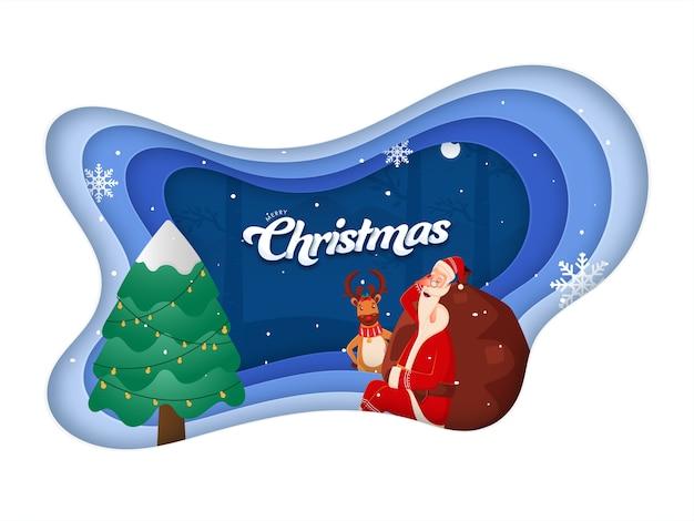 Papai noel dormindo com um saco pesado, renas, flocos de neve e árvore de natal no fundo de corte de camada de papel para feliz natal.