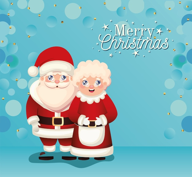 Papai noel e a sra. papai noel com ilustração de letras de feliz natal