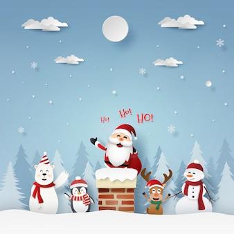 Papai Noel e amigos no telhado com chaminé