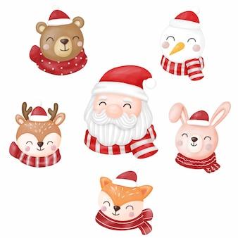 Papai noel e animais, feliz natal