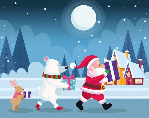 Papai noel e animais fofos de natal com caixas de presente durante a noite de neve, colorida, ilustração