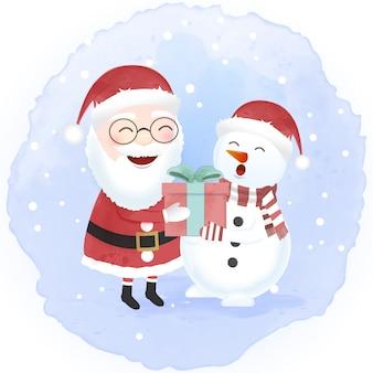 Papai noel e boneco de neve cartoon mão desenhada