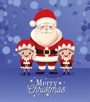 Papai noel e dois duendes com ilustração de letras de feliz natal