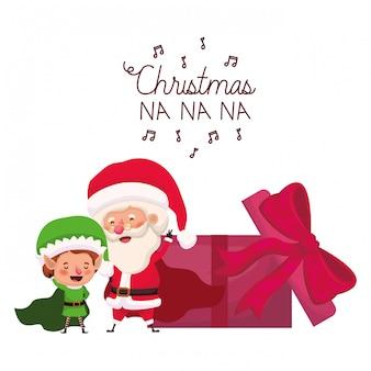 Papai noel e elf com caixa de presente