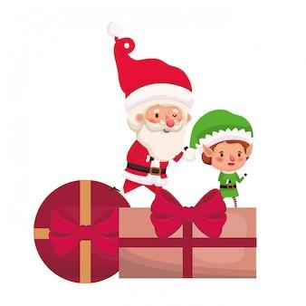 Papai noel e elf com caixas de presentes
